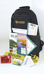 CIE Tours travel accessories include a carry-on backpack
