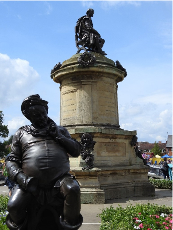 Statue of Shakespeare surrounded by his characters, Stratford-upon-Avon, UK