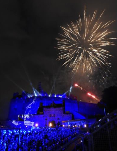 Edinburgh Castle and Fireworks in the night sky at the 2017 Royal Military Tattoo