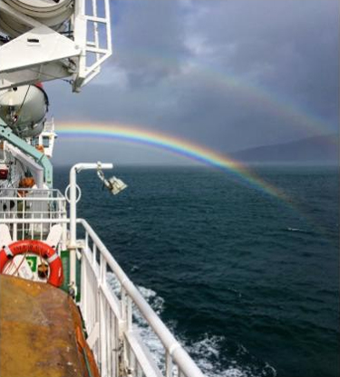 Double rainbow during our ferry ride to the Isle of Mull, Scotland