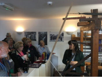 Our guests with their Irish coffees learning of weaving tweed, Donegal, Ireland