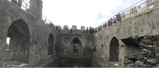 Visitors lining up to kiss the Blarney Stone, Blarney Castle, Ireland