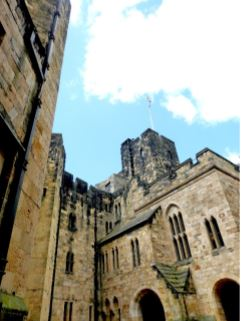 View of Alnwick Castle from one of its courtyards