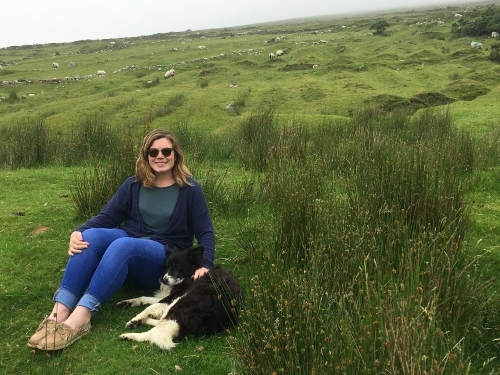 Gretchen, guest, with Achill Island deserted village dog