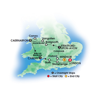 Heart of Wales & England 8 Day Tour Map