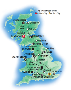 Icons of Britain 16 Day Tour Map