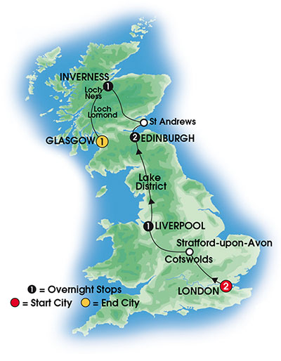 2014 English & Scottish Discovery 8 Day Tour Map
