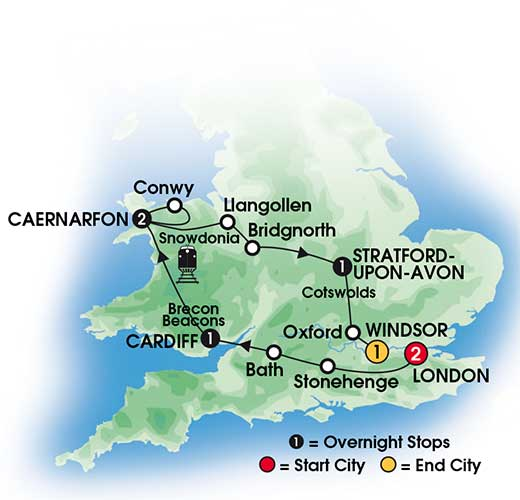 CIE Tours 2014 - 8 Day Heart of Wales and England Map