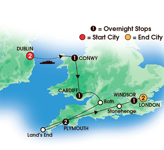 Taste of Devon, Cornwall & Wales 8 or 10 Day Escorted Tour