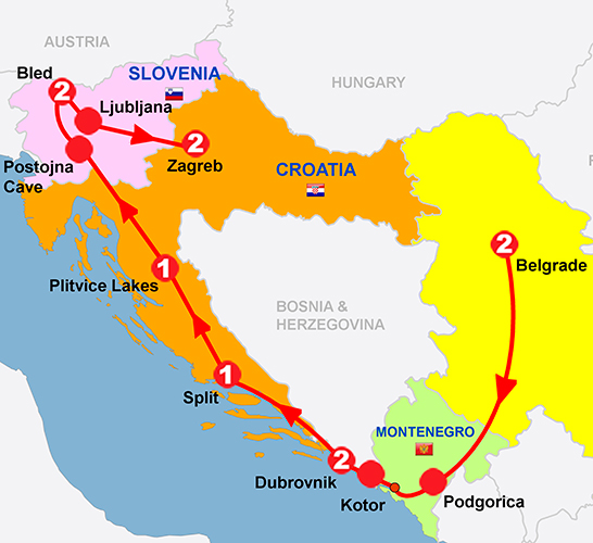 CIE Tours Tour Map  - 2019 - Belgrade to Zagreb - 11 Day