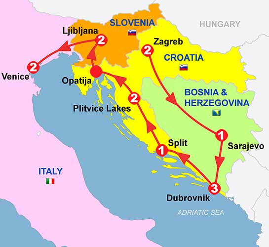 CIE Tours Tour Map  - 2019 - Zagreb to Venice - 14 Day