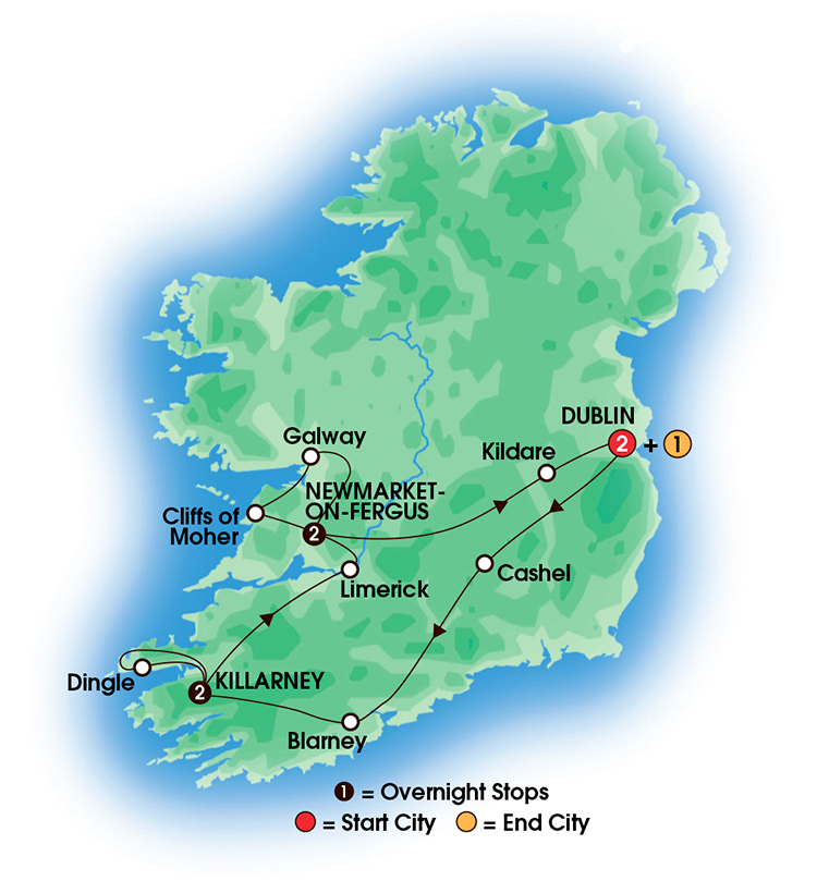 CIE Tours Tour Map  - 2017 - 8 Day Best Of Ireland South - Tour B