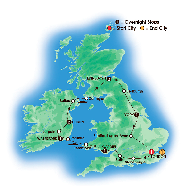 CIE Tours Tour Map  - 2017 - 10 Day British & Irish Elegance