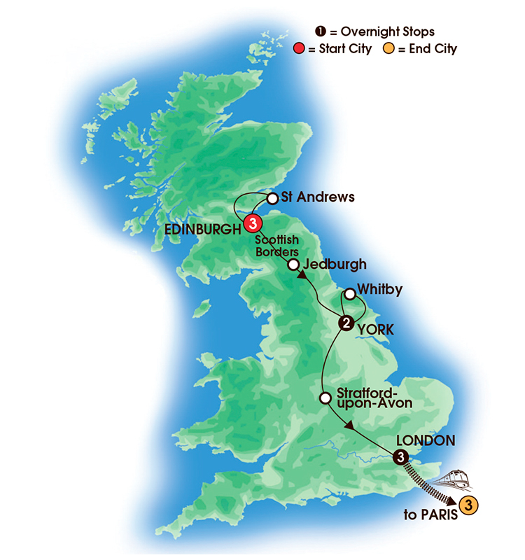 CIE Tours Tour Map  - 2017 - 12 Day Great British Cities with Paris