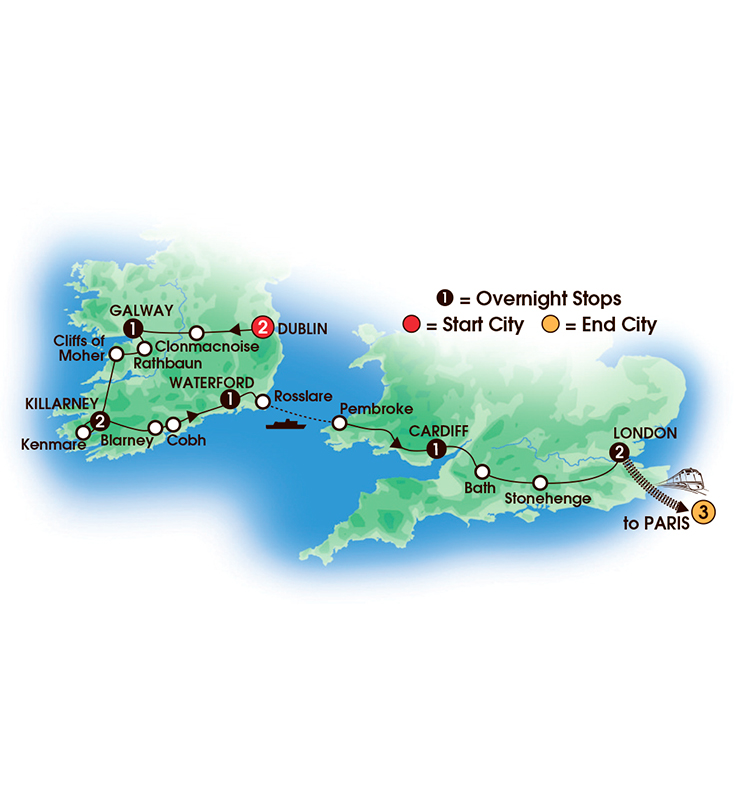 CIE Tours Tour Map  - 2017 - 13 Day Irish & British Focus with Paris