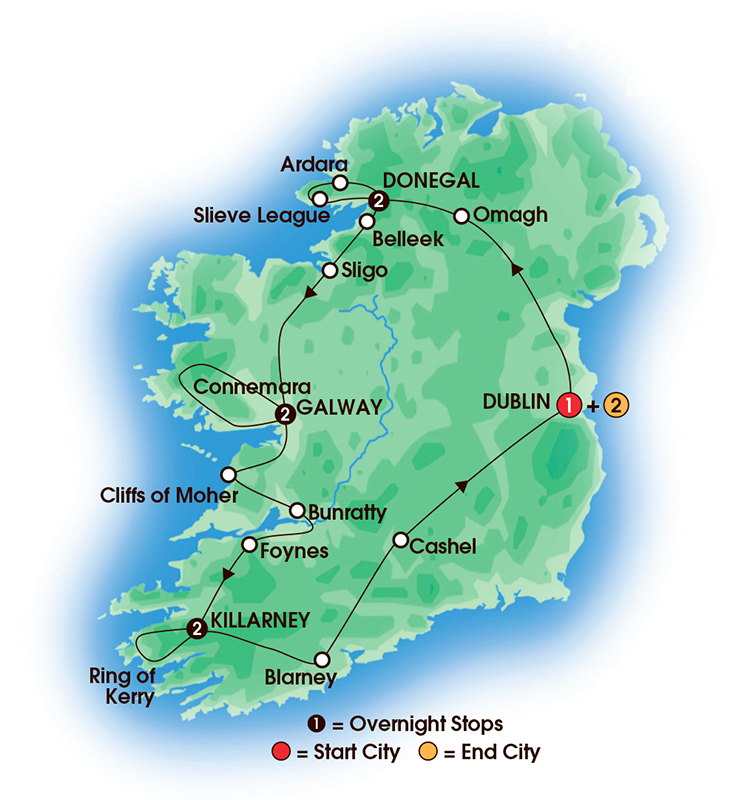 CIE Tours Tour Map  - 2017 - Chauffeur Irish Explorer