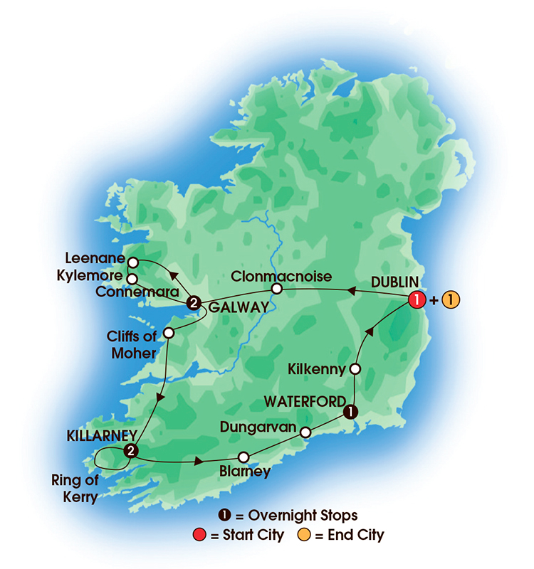 CIE Tours Tour Map  - 2017 - 8 Day Irish Gold