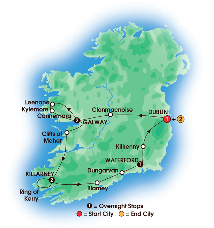 CIE Tours Tour Map  - 2017 - Chauffeur Irish Gold