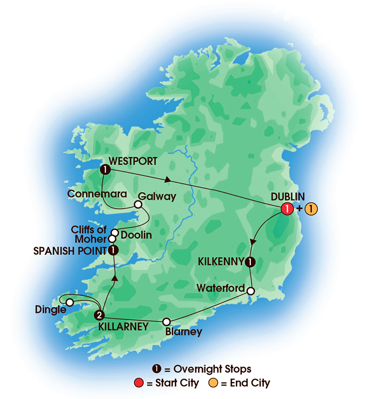 CIE Tours Tour Map  - 2017 - 8 Day The Irish Pub Tour
