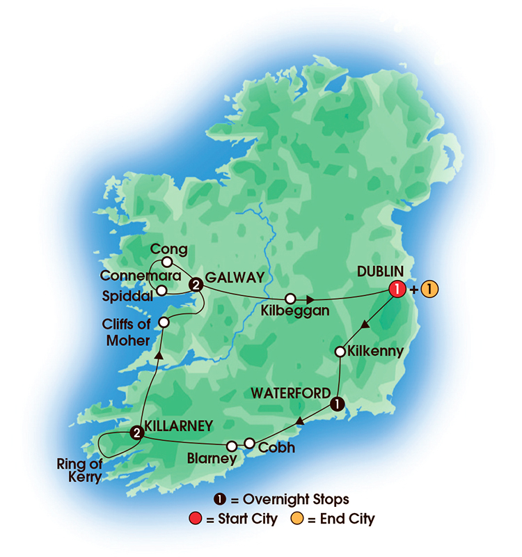 CIE Tours Tour Map  - 2017 - 8 Day Irish Spirit