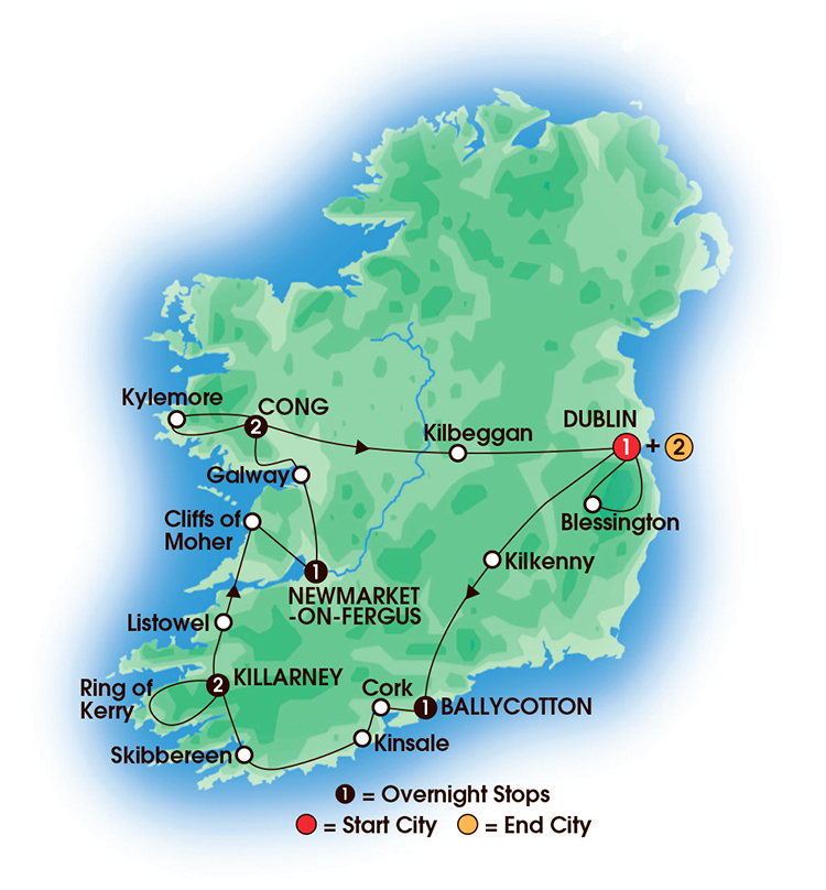 CIE Tours Tour Map  - 2017 - Chauffeur Irish Supreme