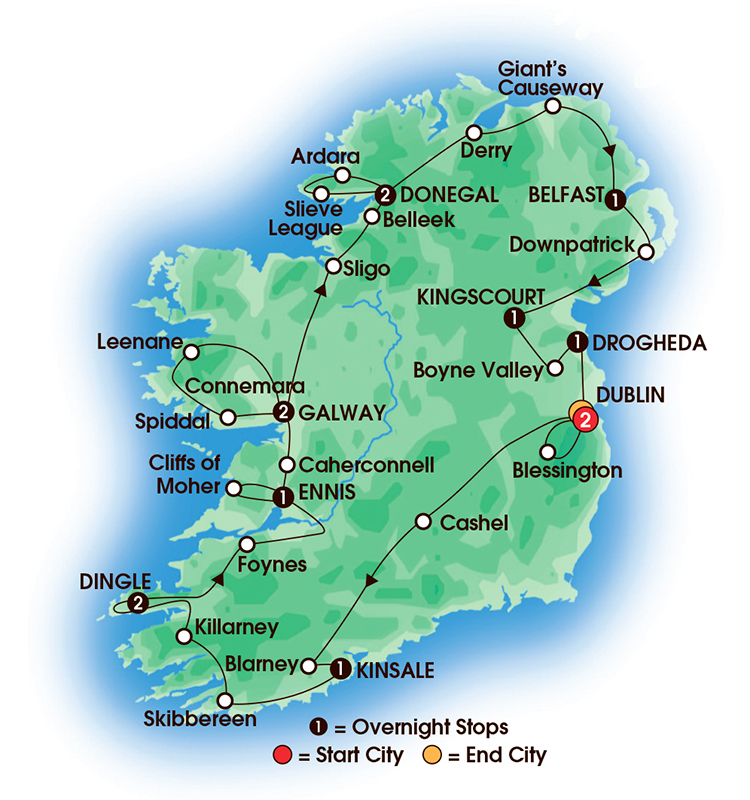 CIE Tours Tour Map  - 2017 - 14 Day Jewels Of Ireland