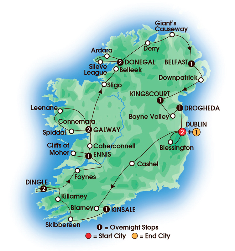 CIE Tours Tour Map  - 2017 - 15 Day Jewels Of Ireland