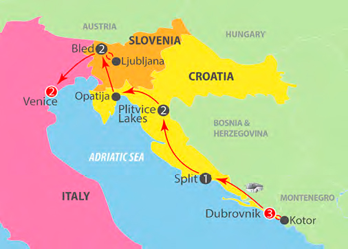 CIE Tours Tour Map  - Dubrovnik To Venice - 11 Day