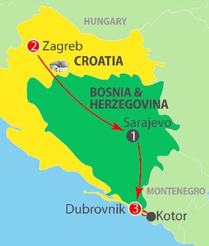 CIE Tours Tour Map  - Zagreb to Dubrovnik - 7 Day