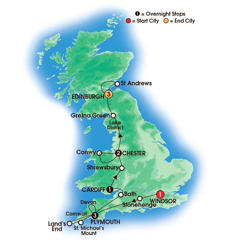 CIE Tours Tour Map  - 2017 - 11 Day Scenic Britain