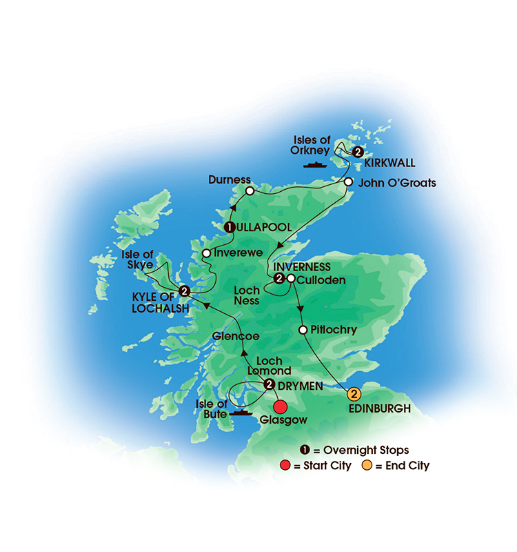 CIE Tours Tour Map  - 2017 - 12 Day Scottish Isles & Glens