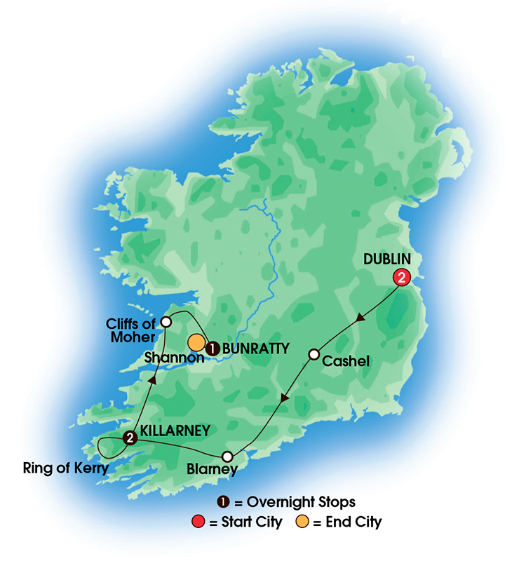 CIE Tours Tour Map  - 2017 - 6 Day Taste Of Ireland - Tour A