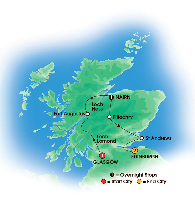 CIE Tours Tour Map  - 2017 - 5 Day Taste Of Scotland