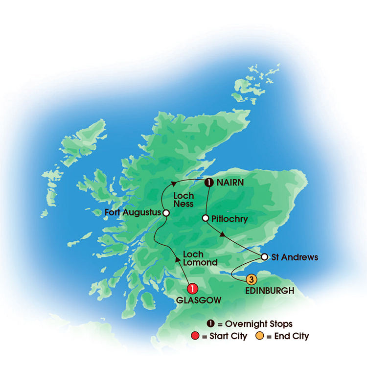 CIE Tours Tour Map  - 2017 - 6 Day Taste Of Scotland