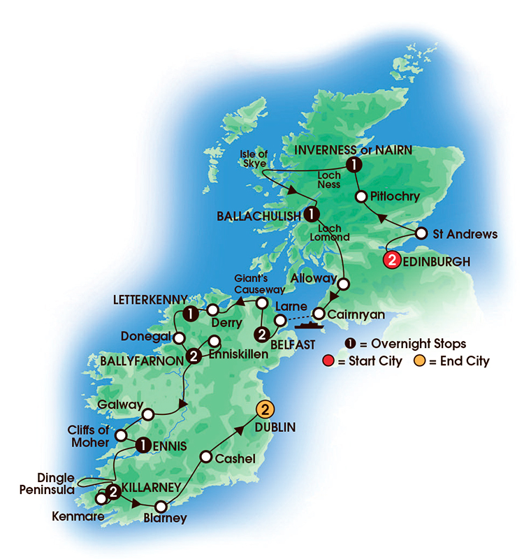 15 day tour of Scotland Northern Ireland by ferry and Tour of