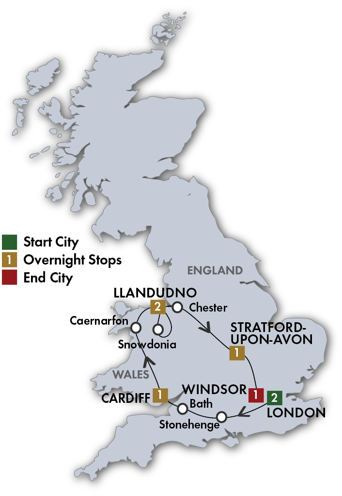 CIE Tours Tour Map  - 2018 English Knights & Wizards