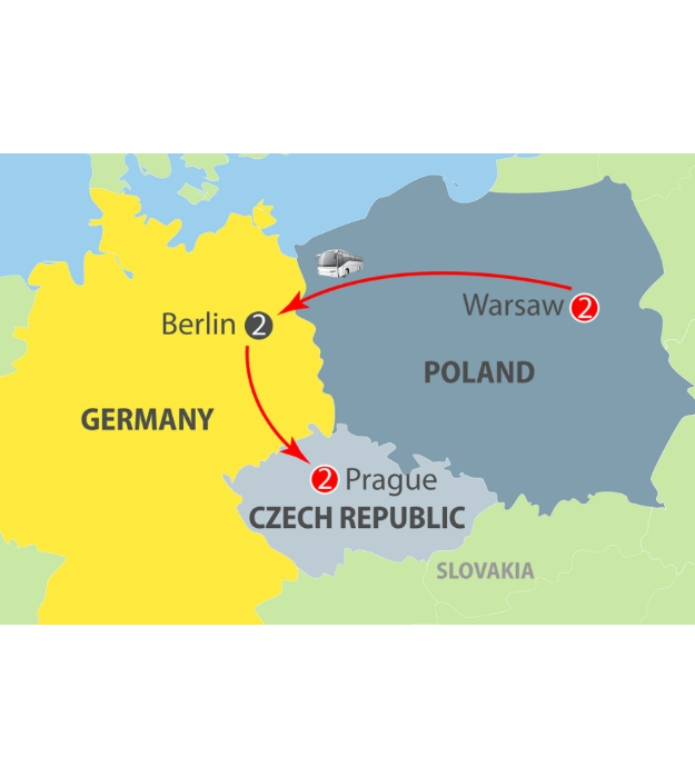 CIE Tours Tour Map  - 2019 - Warsaw, Berlin & Prague - 7 Day