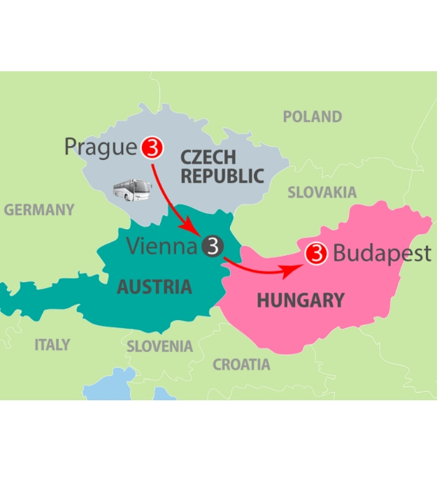 CIE Tours Tour Map  - Prague, Vienna & Budapest - 10 Day