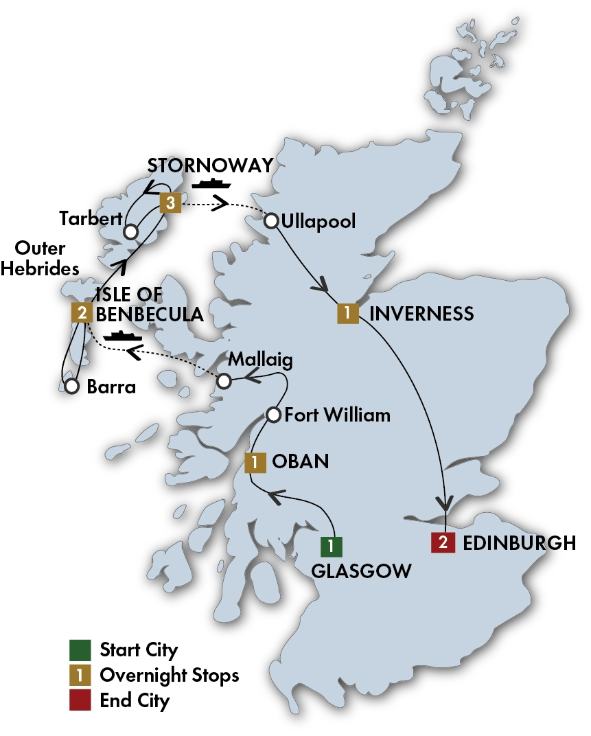 CIE Tours Tour Map  - 2019 - 11 Day The Outer Hebrides: Scotland's Gaelic West