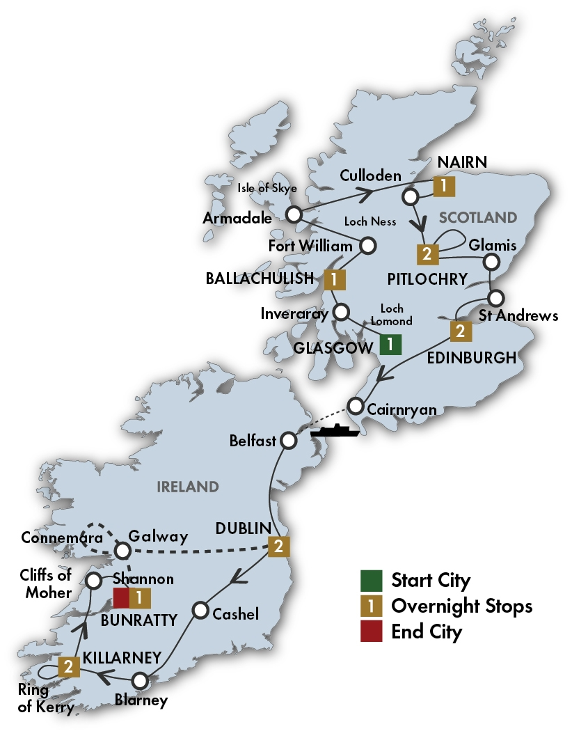 CIE Tours Tour Map  - 2019 - 13 Day Scottish & Irish Dream