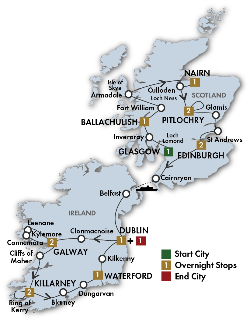 CIE Tours Tour Map  - 2018 - 15 Day Scottish & Irish Gold