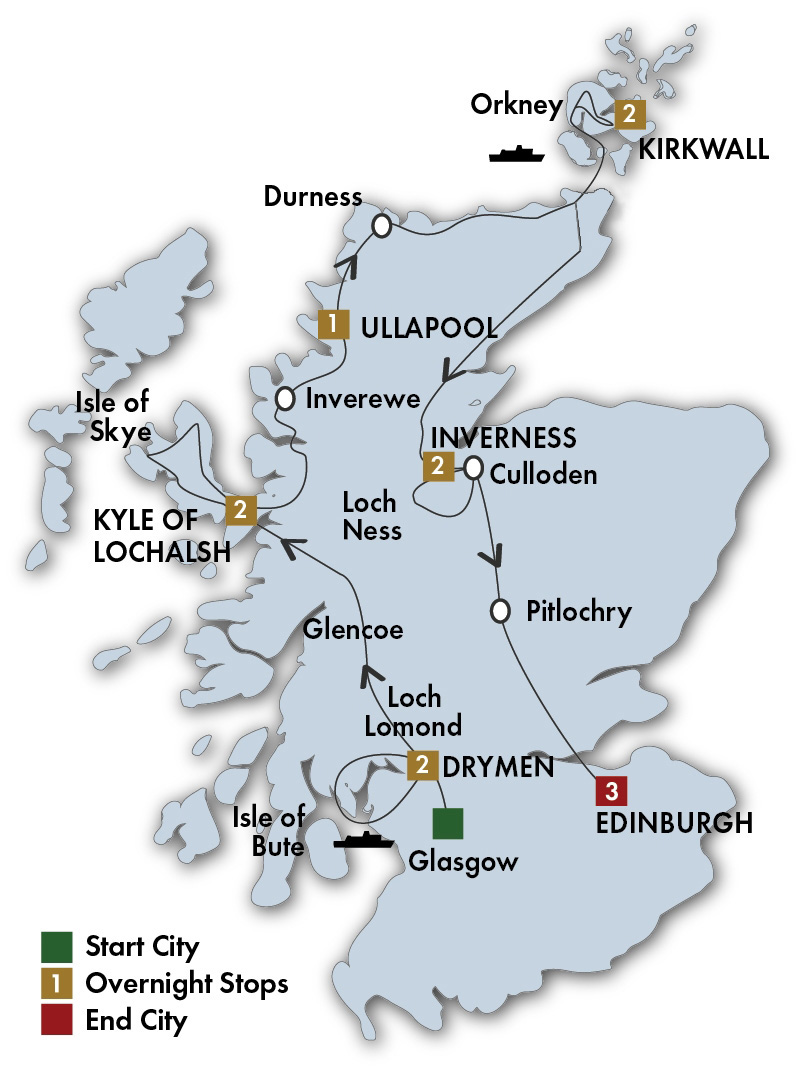 CIE Tours Tour Map  - 2018 - 13 Day Scottish Isles & Glens