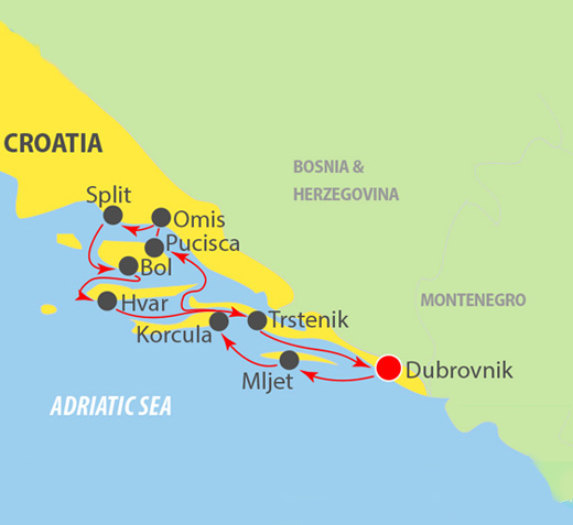 CIE Tours Tour Map  - Dubrovnik to Dubrovnik  Adriatic Cruise 8 Day
