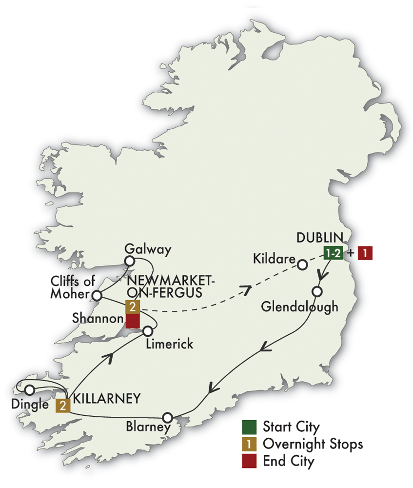 CIE Tours Tour Map  - 2019 - 7 Day Best Of Ireland South - Tour B