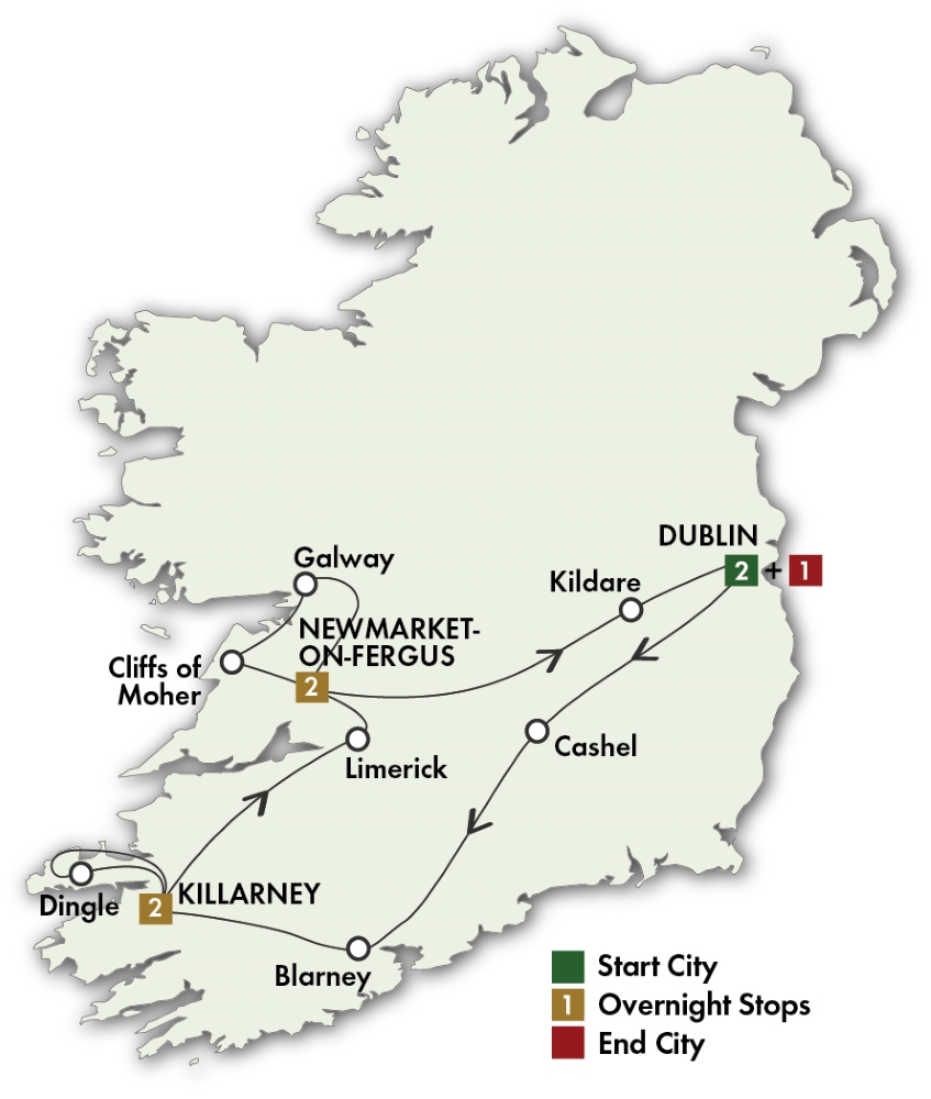 CIE Tours Tour Map  - 2019 - 8 Day Best Of Ireland South - Tour A