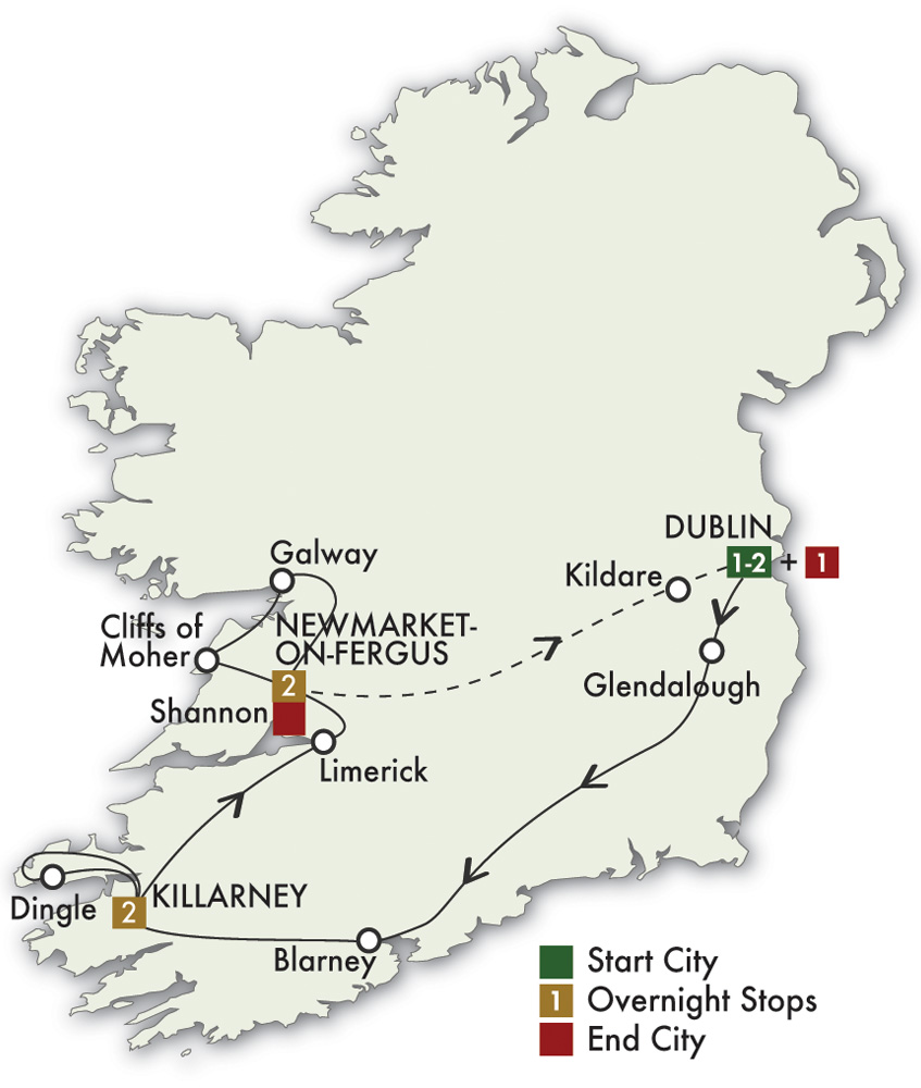 CIE Tours Tour Map  - 2019 - 7 Day Best Of Ireland South - Tour C