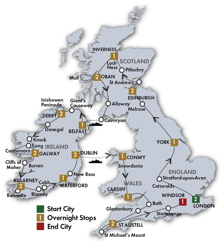 Ireland And England Map.Vacationing In Ireland Tours Of Britain And Ireland