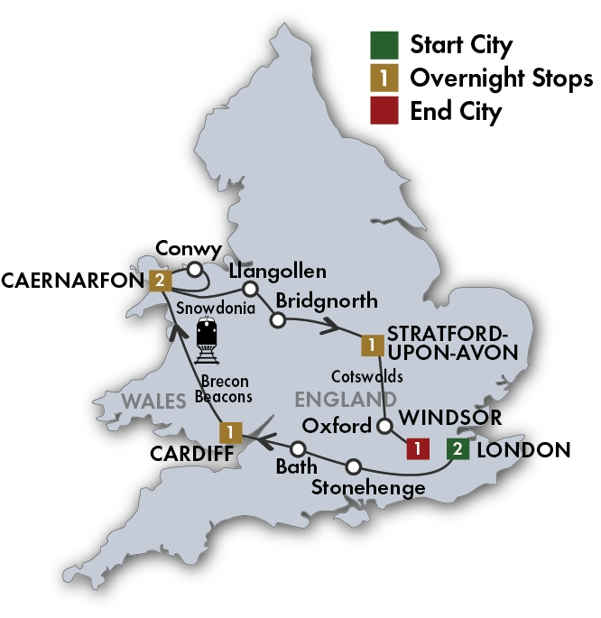 CIE Tours Tour Map  - 2019 - 8 Day Heart of Wales & England