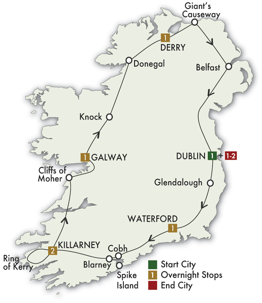 CIE Tours Tour Map  - 2019 - 8 Day Irish Adventure