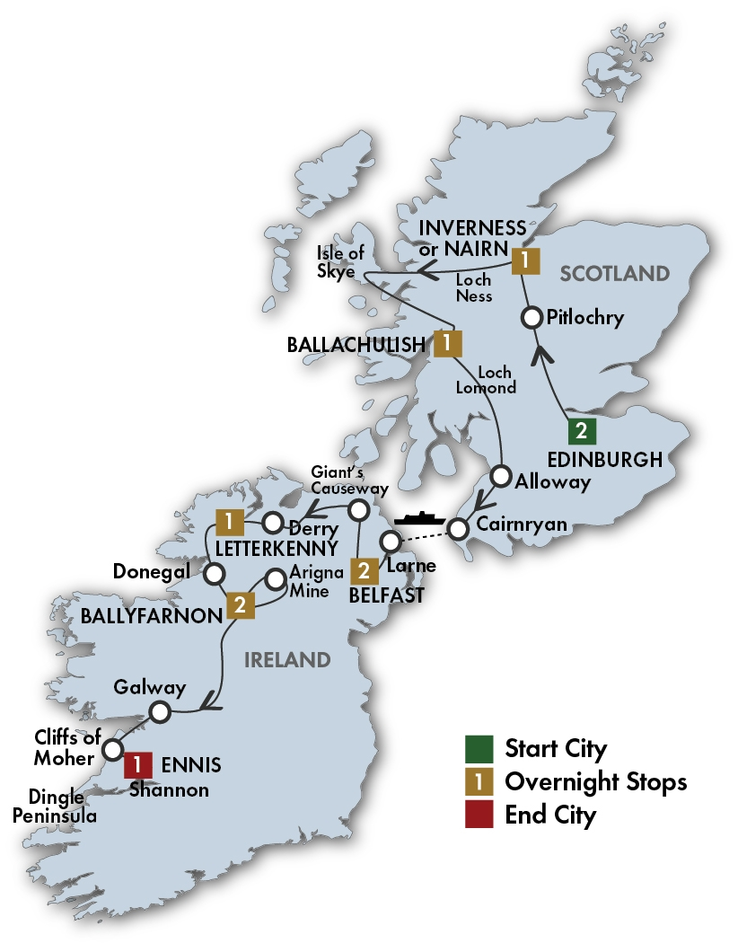 CIE Tours Tour Map  - 2019 - 11 Day The Scots Irish Tour